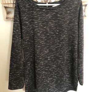Heathered Black Long Sleeve Blouse